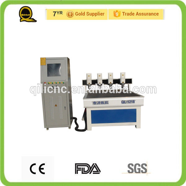 water cool spindle motor machine 1.5kw QL-1218 Advertising four independent heads cnc router 3d body scanner cnc router