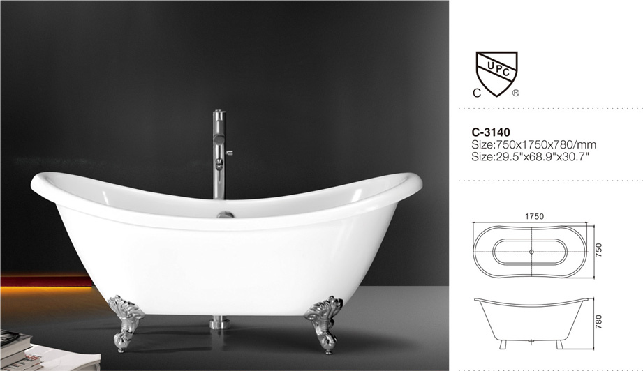 (3) MEC-3140-Wonderful Freestanding Double Ended Slipper Clawfoot Tub with CUPC Certification.jpg