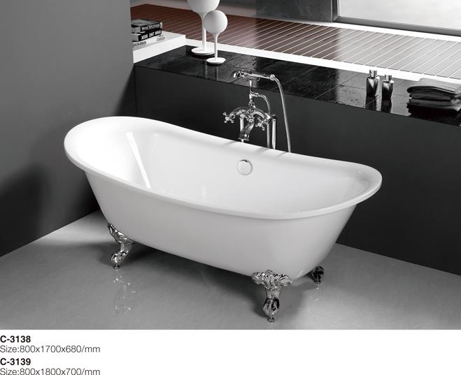 (4) MEC3138-Romantic luxury Double-Ended Slipper Bath Tub With Chrome Clawfoot.jpg