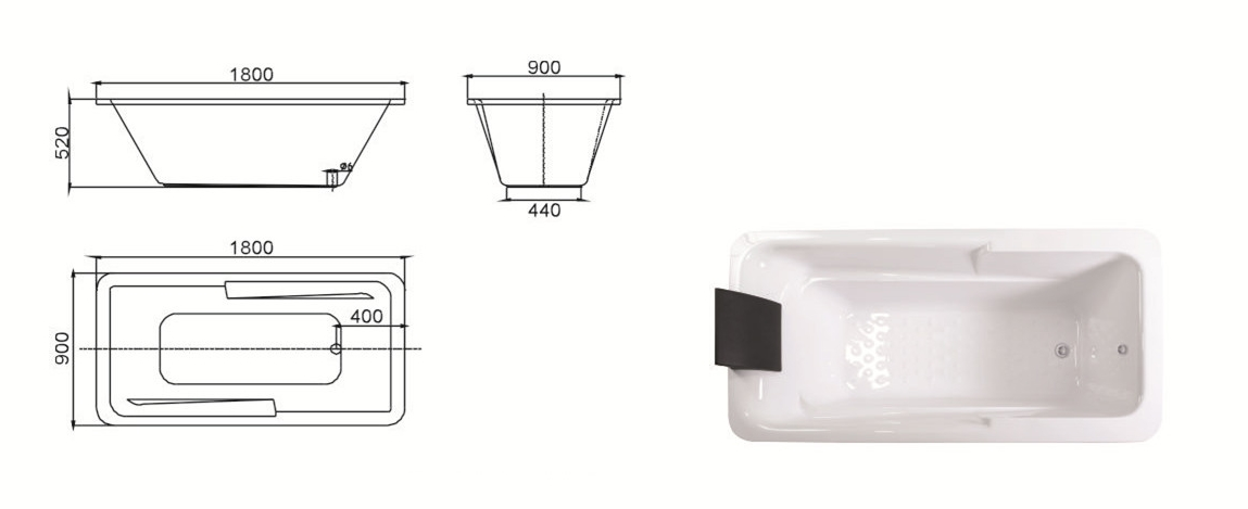 (2) MEC3055-Simple Design White Acrylic Rectangle Shape Drop-in Soaking Hot Tub.jpg