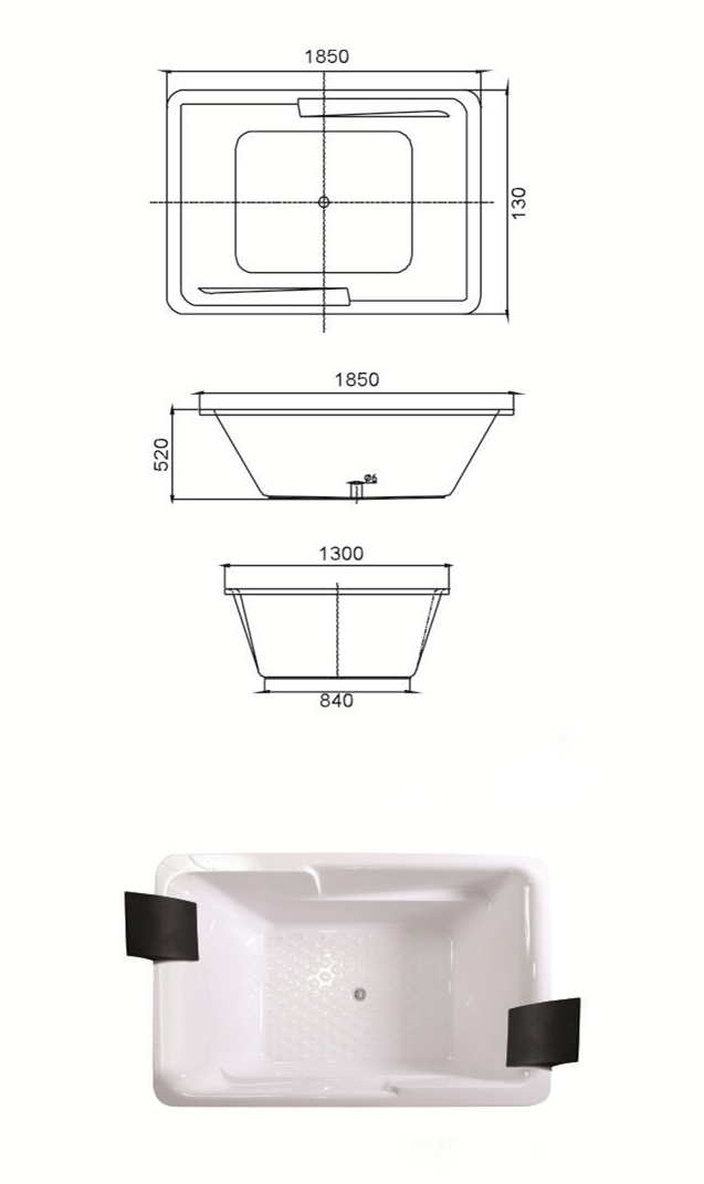 (2) MEC3056- Extra Large Center Drain Acrylic Rectangle Shape Drop-in Soaking Hot Tub.jpg