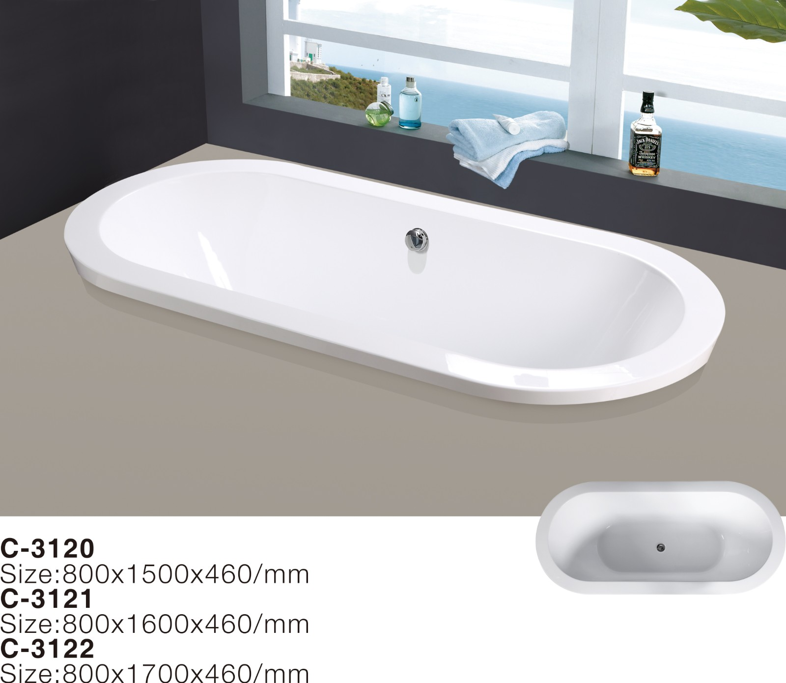 (3`) MEC3120--Center Drain 3 Size Optional Acrylic Oval Shape Soaking Injection Drop-in Bathtub.jpg