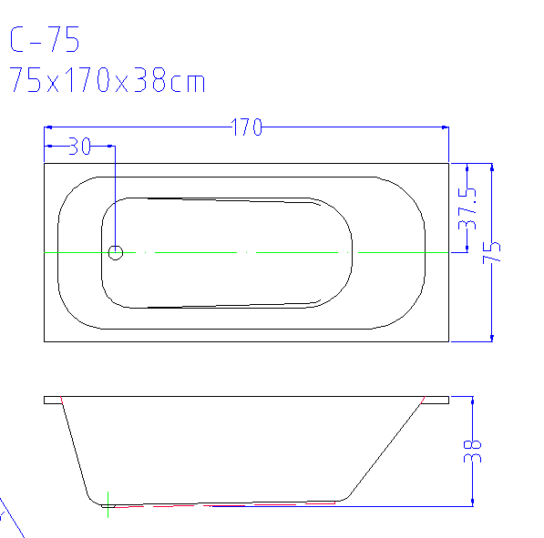 (2) C-071 C-072 C-073 C-074 C-075--Simple Design Left Drainer White Acrylic Rectangle Drop-in Soaking Tub.png