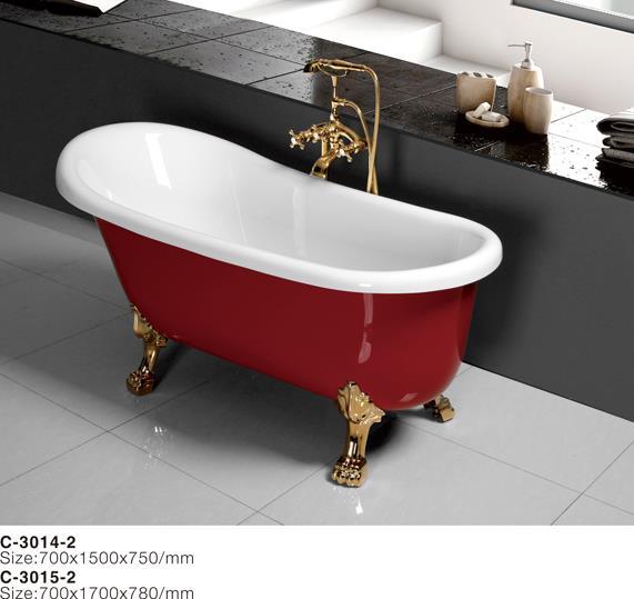 C-3014-2--Oval Claw-Foot Slipper Acrylic Bathtub, Red, 67.jpg